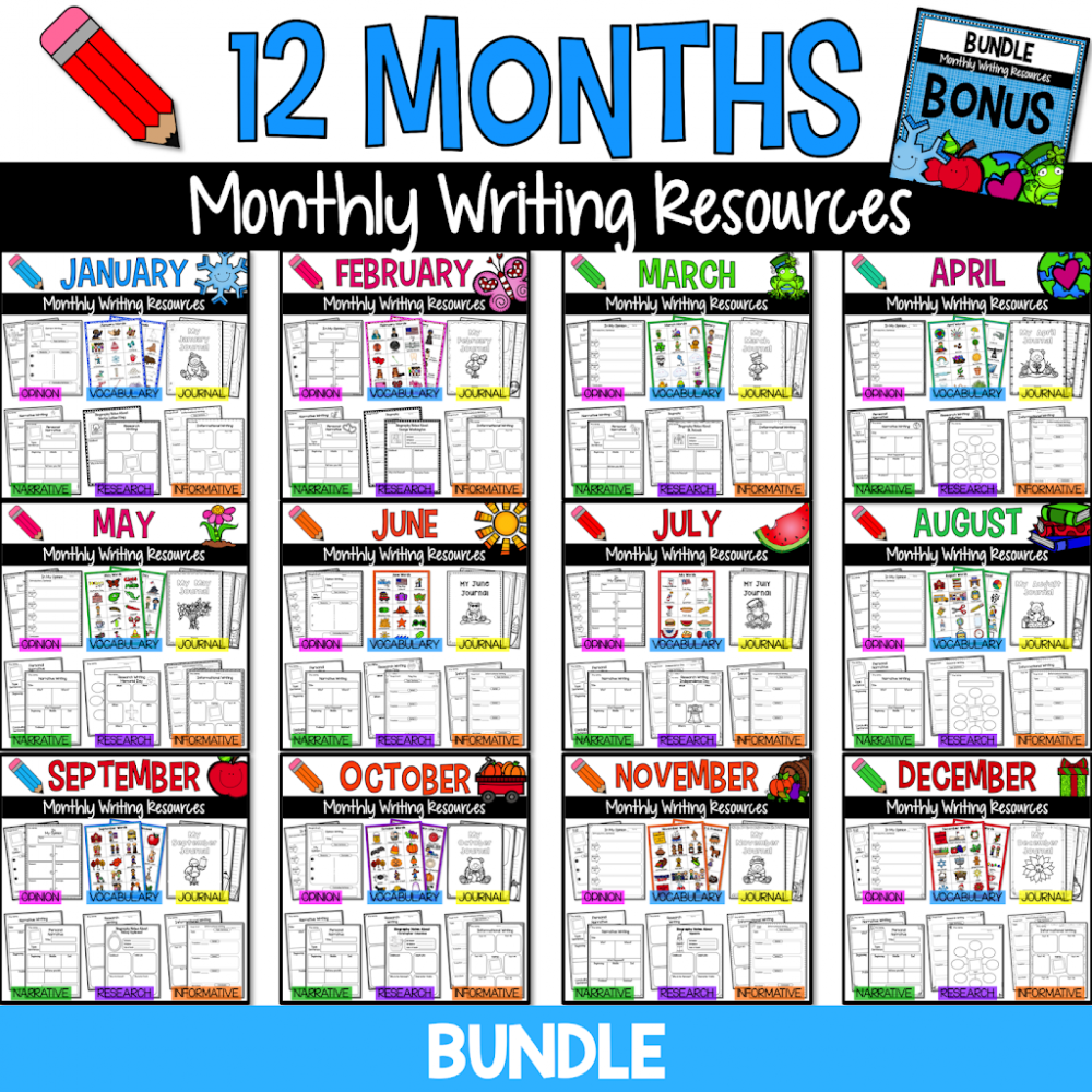 Tools to improve your students' paragraph writing skills! These high-interest monthly writing resources with give them the practice they need to write well-organized paragraphs! #paragraph