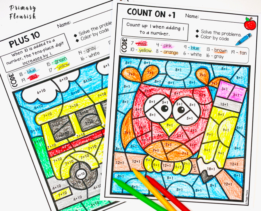 These NO PREP back to school-themed color-by-code worksheet pages will give your 1st, 2nd, 3rd grade, and home school students that essential practice they need to master addition facts. Plus, it's fun and engaging! Each page focuses on a different mental math strategy, which makes differentiation a snap!
