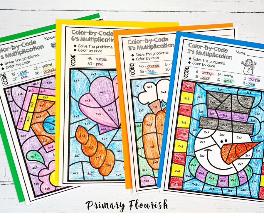 Need some no-prep, engaging seat work for your students during some of your winter days? This bundle of printable color-by-code coloring pages will give your 3rd, 4th, 5th grade, and home school students that essential practice they need for multiplication facts, and they will be engaged! Each page focuses on a different multiplication table, which makes differentiation a snap! It's a fun way to improve their math and basic computation skills. {third, fourth, fifth graders, mental math}