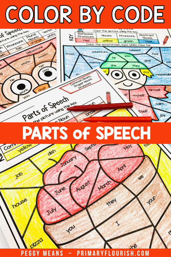 Looking for a fun way to review grammar parts of speech with your students? These Fall themed color by code worksheets are easy activities for your kids to do independently or in language arts stations. There are 12 different fall color by code pages including: Nouns, Verbs, Pronouns, Adjectives & Adverbs. {first, second, third graders, fall, seasonal}