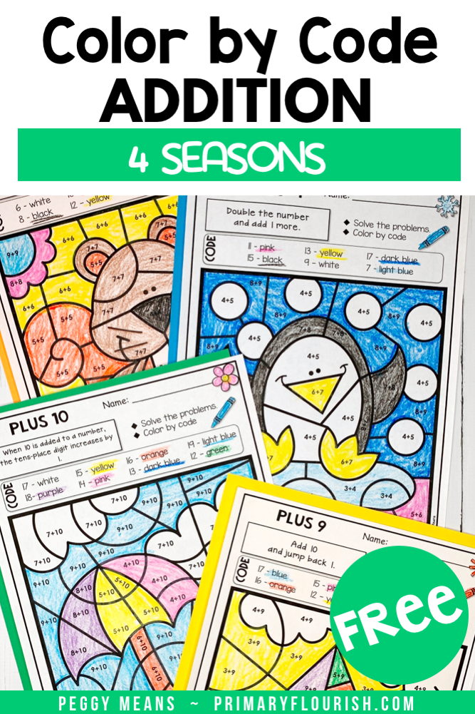 Need some FREE no-prep, engaging worksheets for your students? These printable color-by-code coloring pages your 1st, 2nd, 3rd grade, and home school students give that essential practice they need to increase math fact fluency. Bring in some seasonal fun and improve their math and basic computation skills. {first, second, third graders}