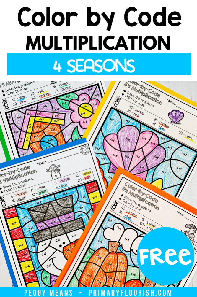 Need some FREE no-prep, engaging multiplication fact fluency practice for your students? These printable color-by-code coloring pages your 2nd, 3rd, 4th grade, and home school students will give them that essential practice that they need. Bring in some seasonal fun and improve their math and basic computation skills. {first, second, third graders}