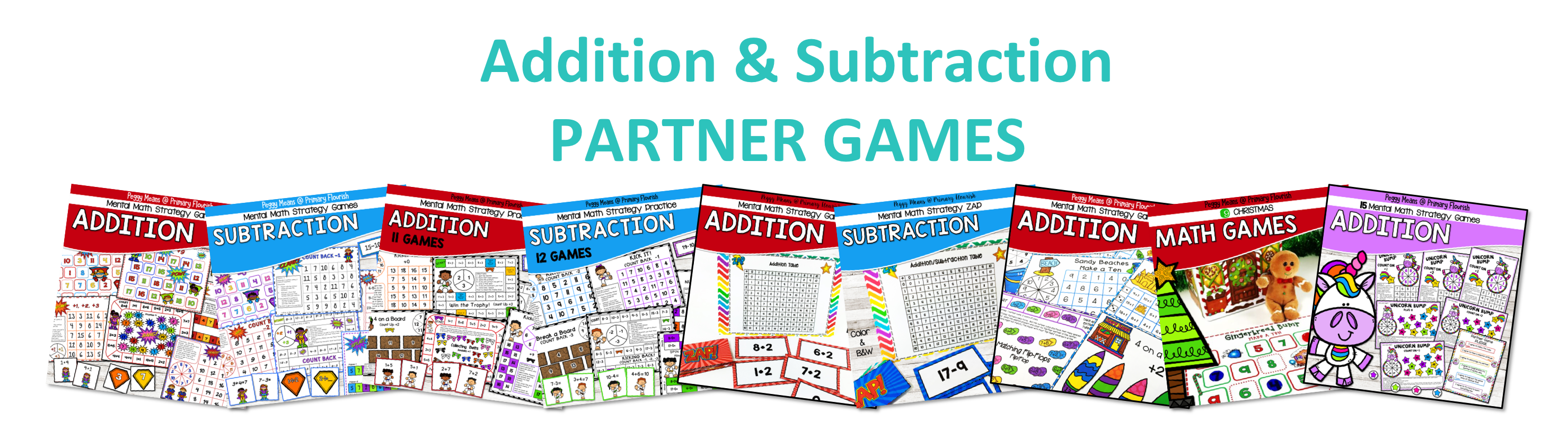 A variety of motivating math games for addition and subtraction.