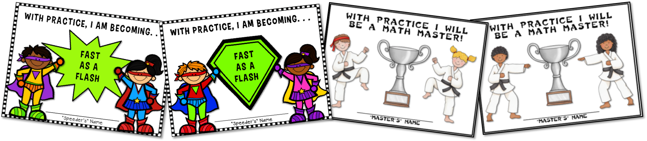 Superhero and karate awards to motivate math fact mastery.