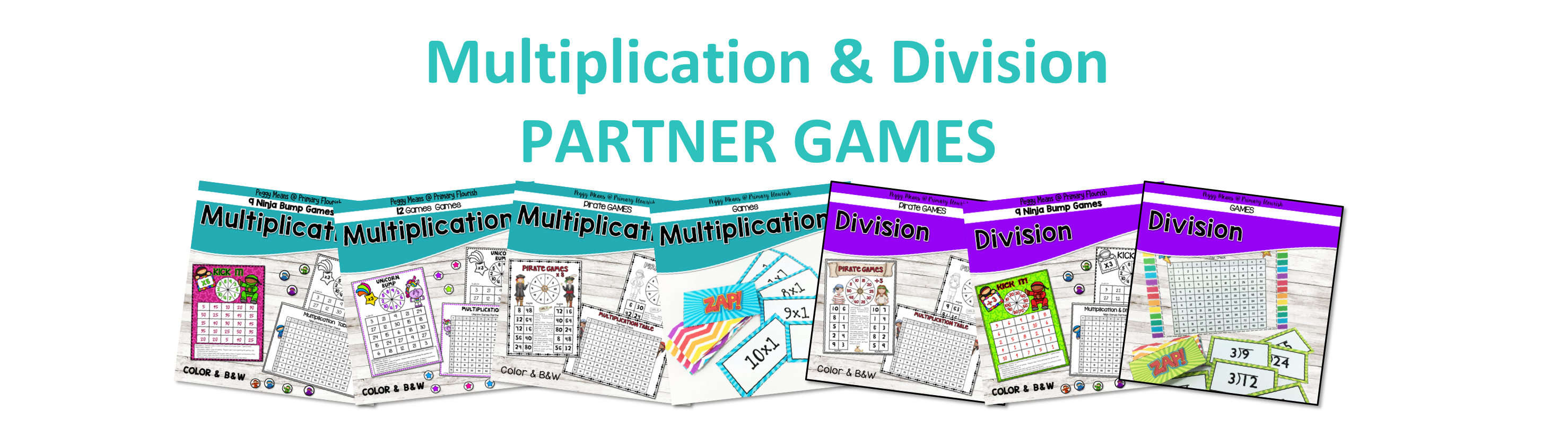 A variety of motivating math games for multiplication and division..